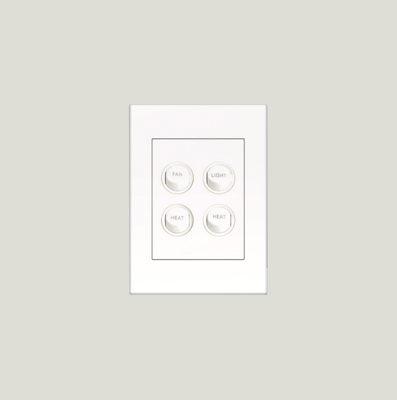Engraved Bathroom Switches 4 Gang, Bathroom Heat Light Fan Switch