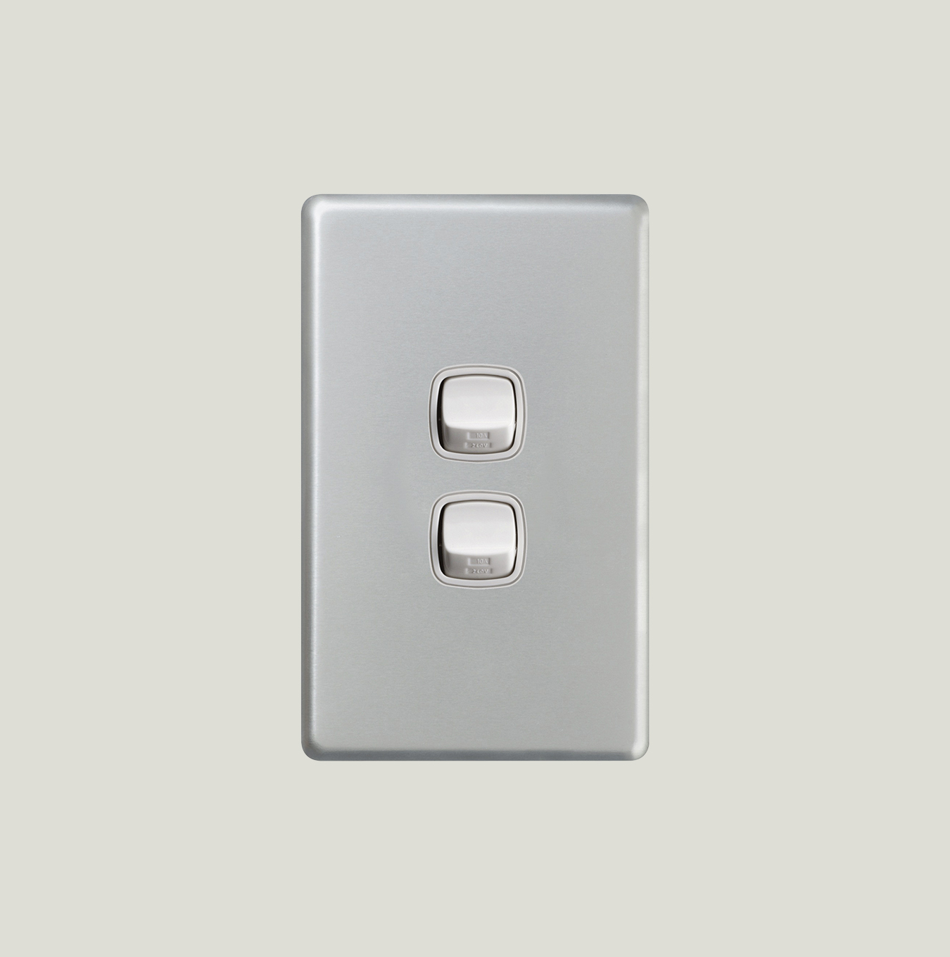 Switch 2 Gang Au Site Hpm Two Way Light Matt Silver Finish